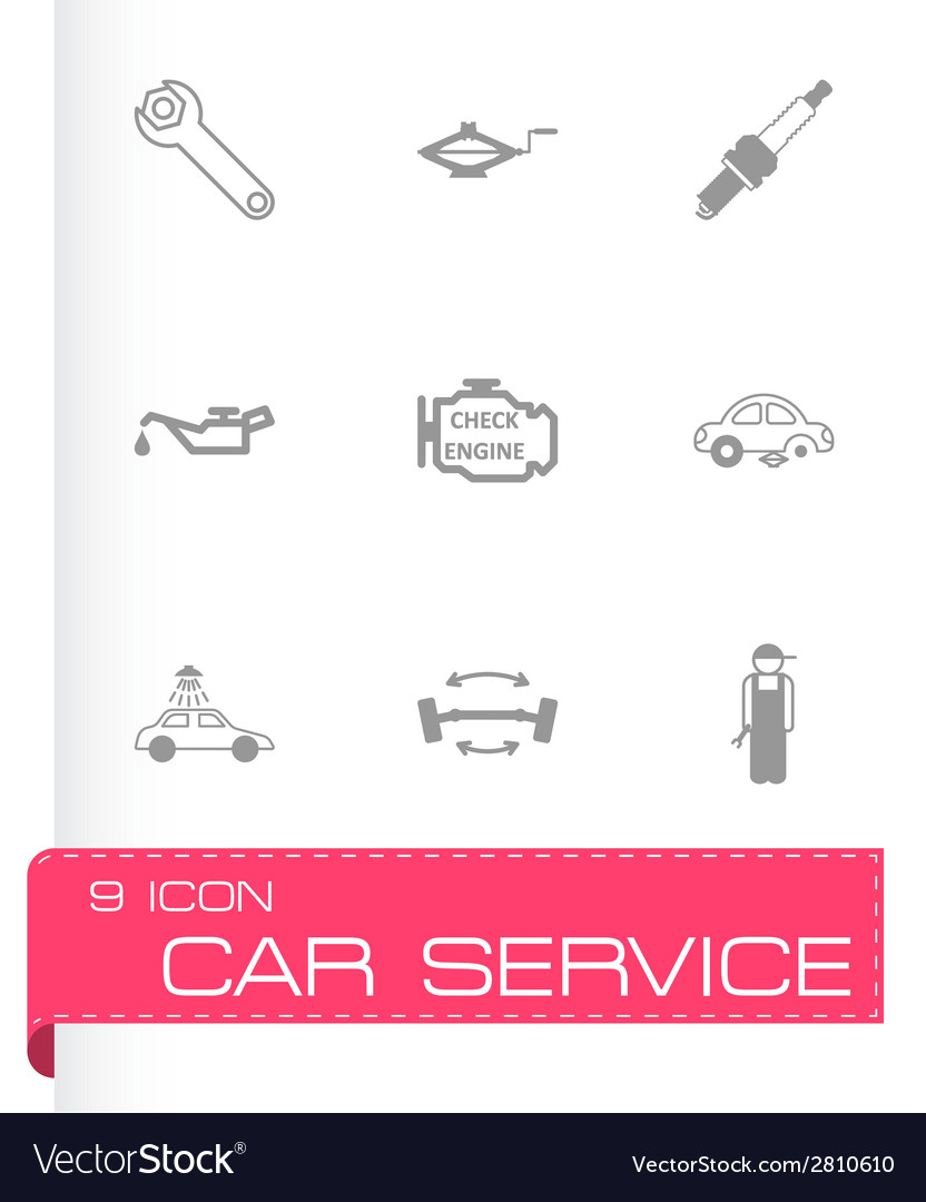 Black car service icons set vector | Price: 1 Credit (USD $1)