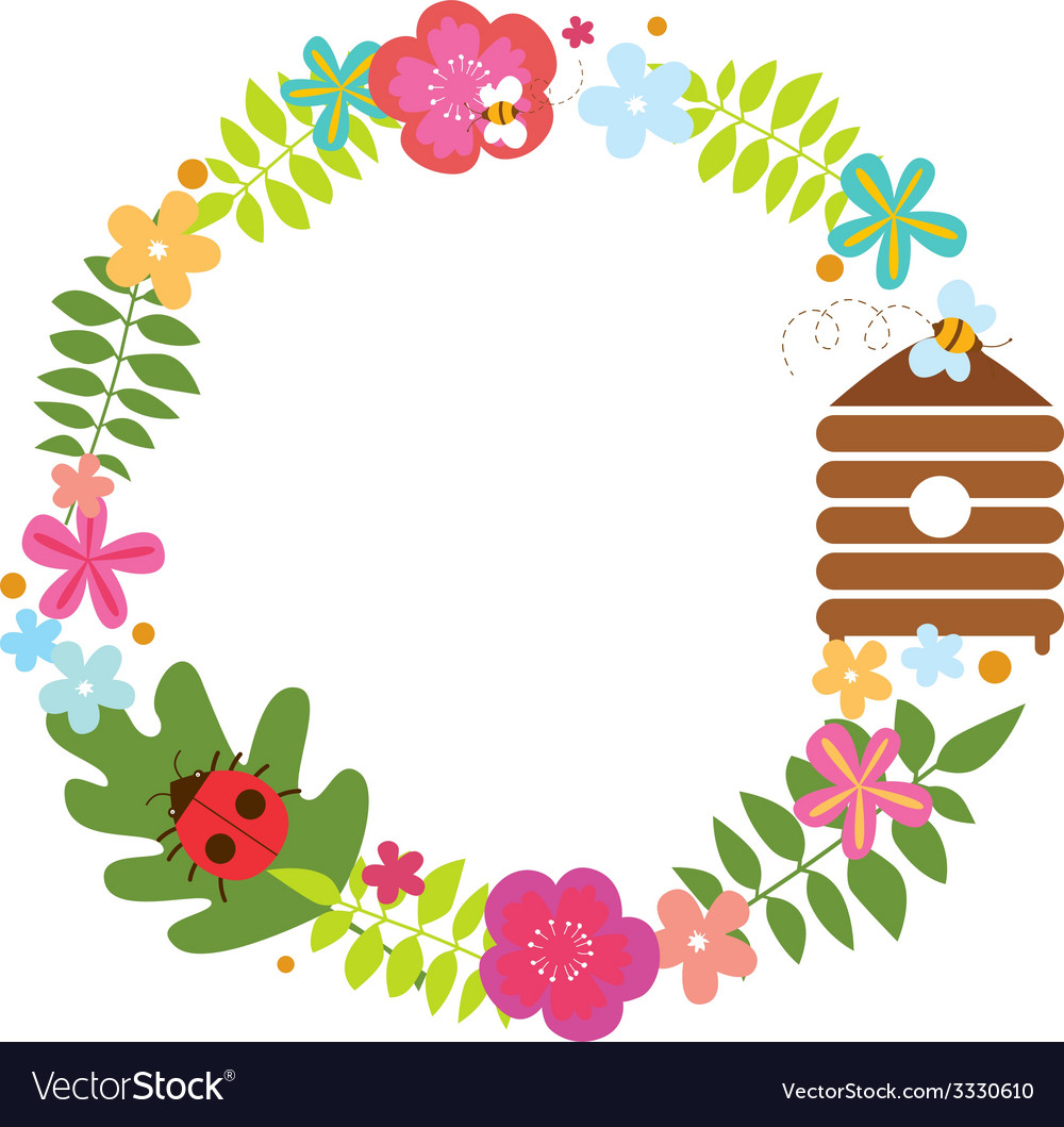 Floral wreath with bee beehive and ladybug vector | Price: 1 Credit (USD $1)