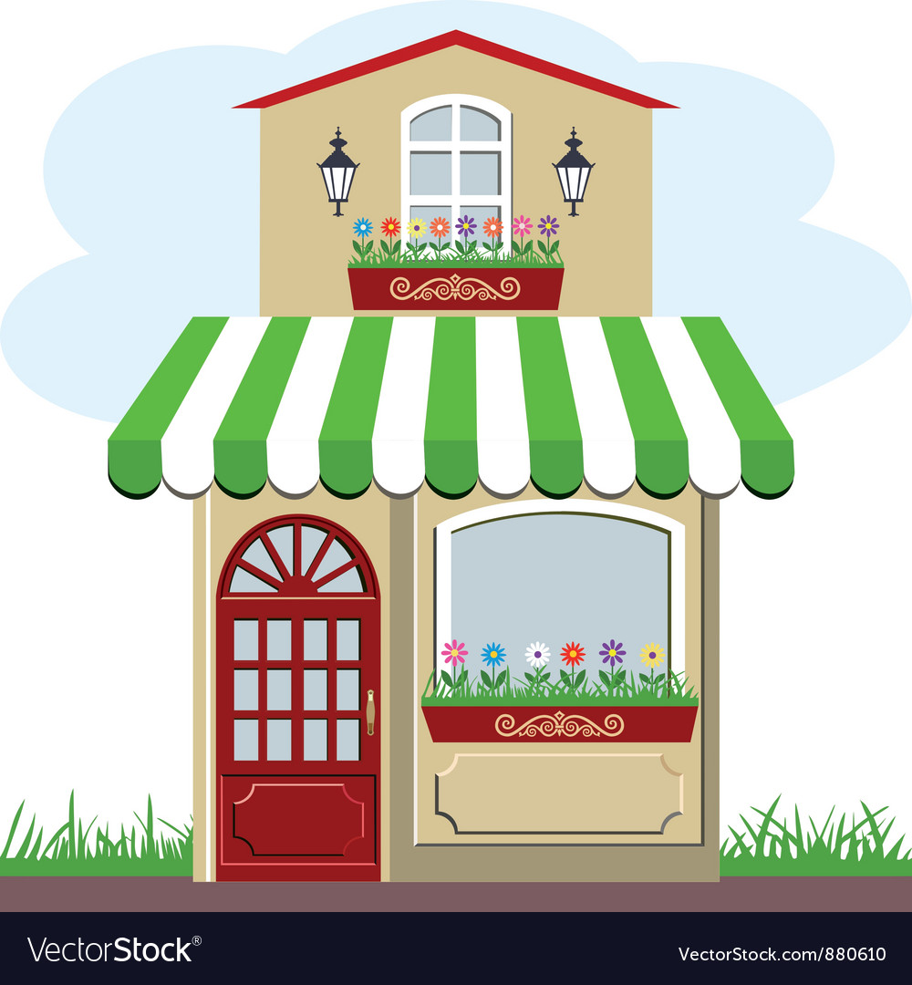 House and store vector | Price: 1 Credit (USD $1)
