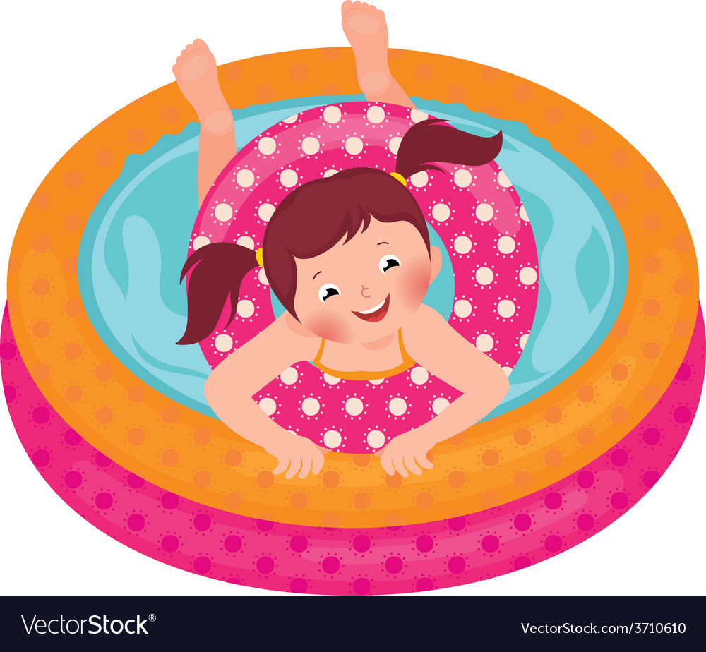 Little girl splashing in the summer inflatable poo vector