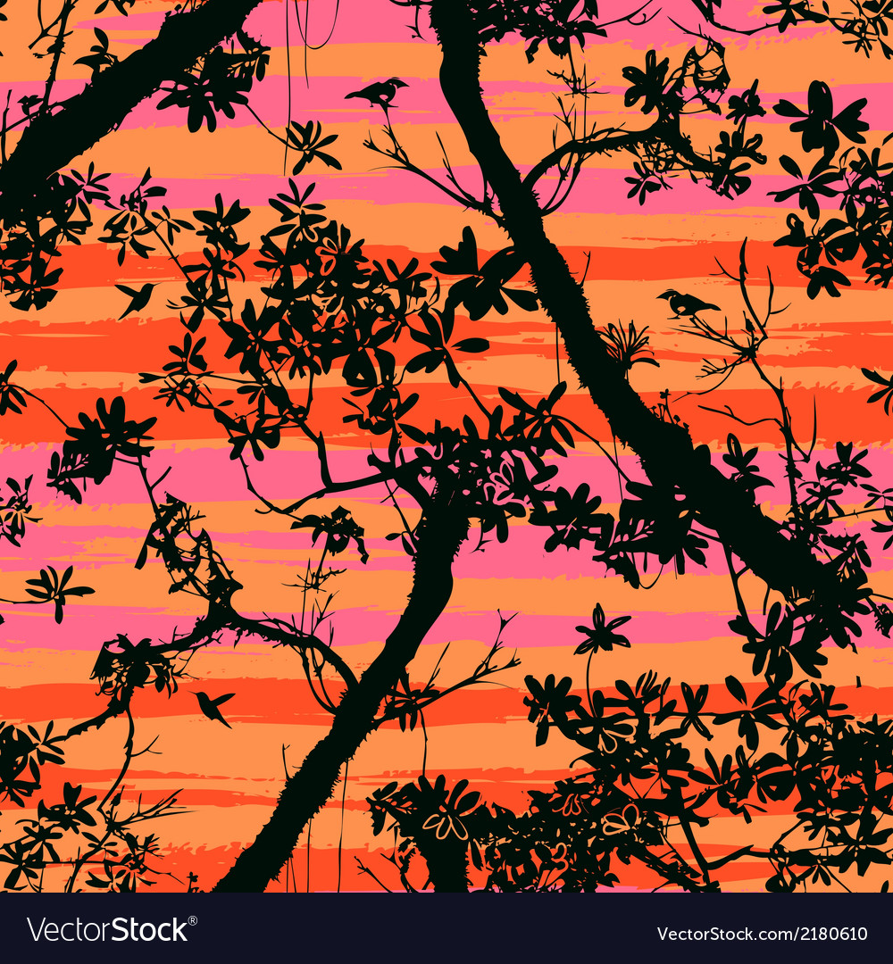 Seamless floral pattern with trees vector | Price: 1 Credit (USD $1)