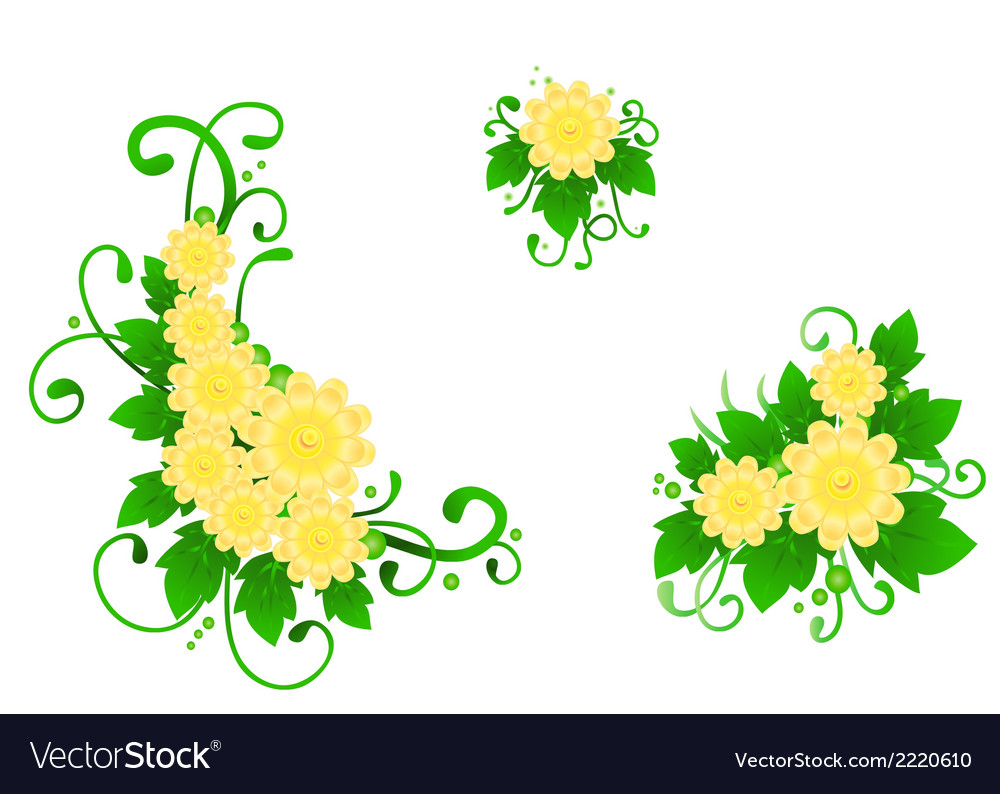 The set from three flower compositions vector | Price: 1 Credit (USD $1)