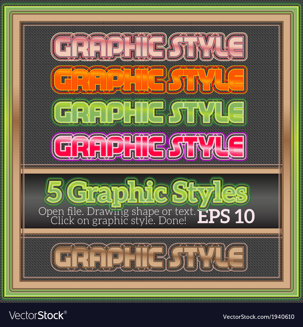 Set of colorful graphic styles for various design vector | Price: 1 Credit (USD $1)