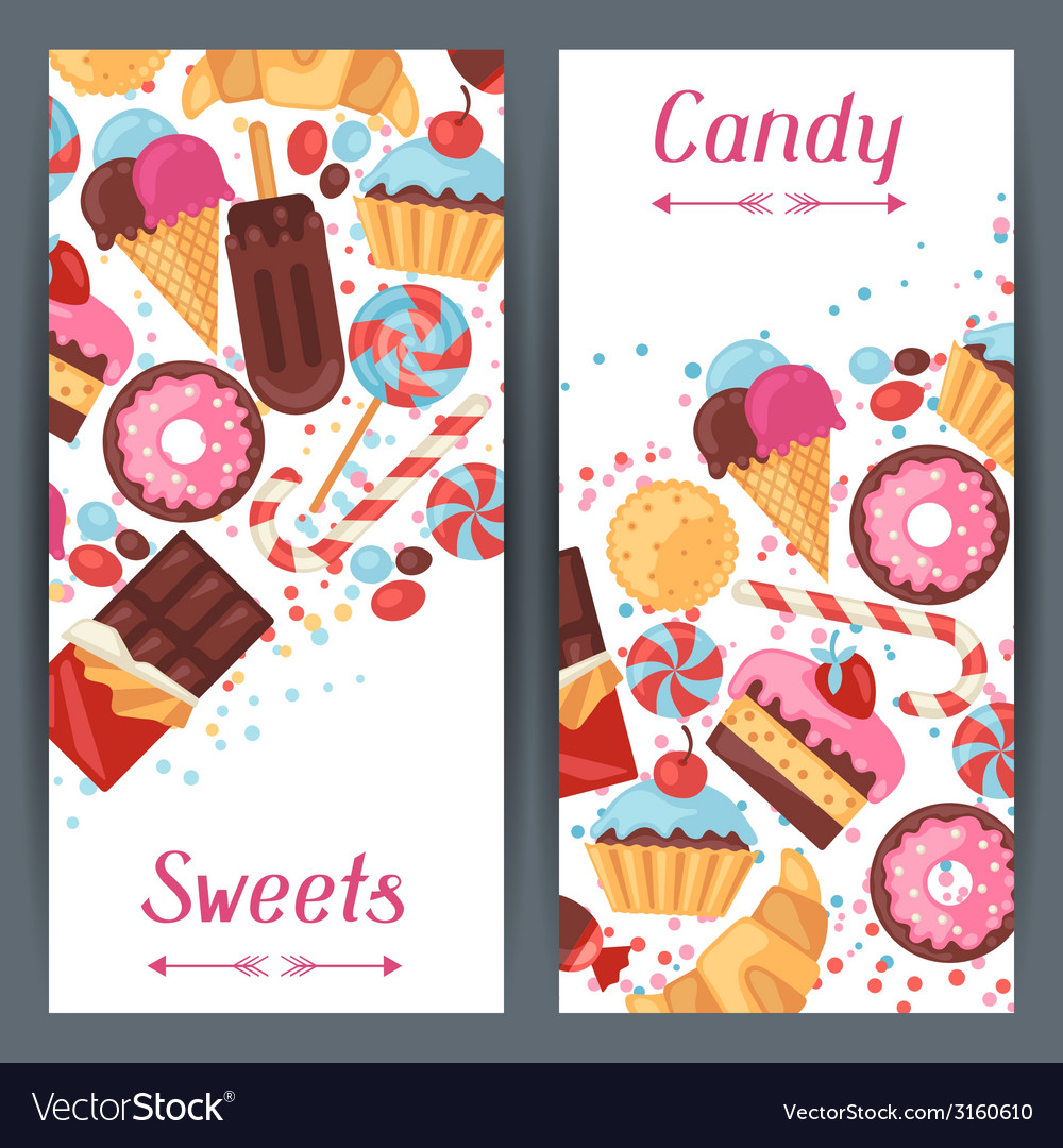 Vertical banners with colorful candy sweets and vector | Price: 1 Credit (USD $1)