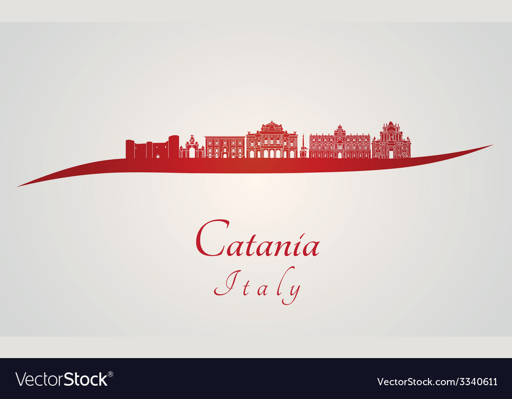 Catania skyline in red vector | Price: 1 Credit (USD $1)