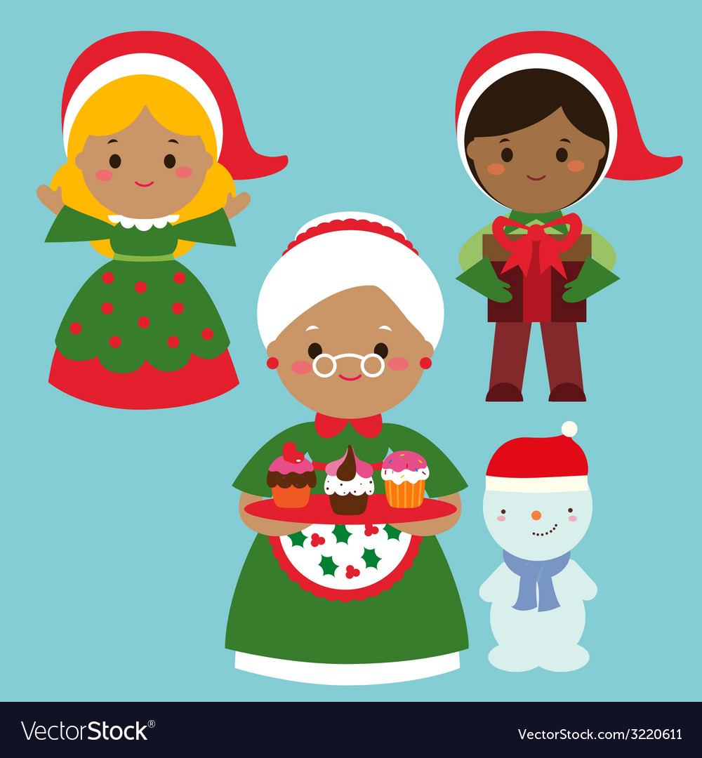 Cute holiday characters set vector | Price: 1 Credit (USD $1)