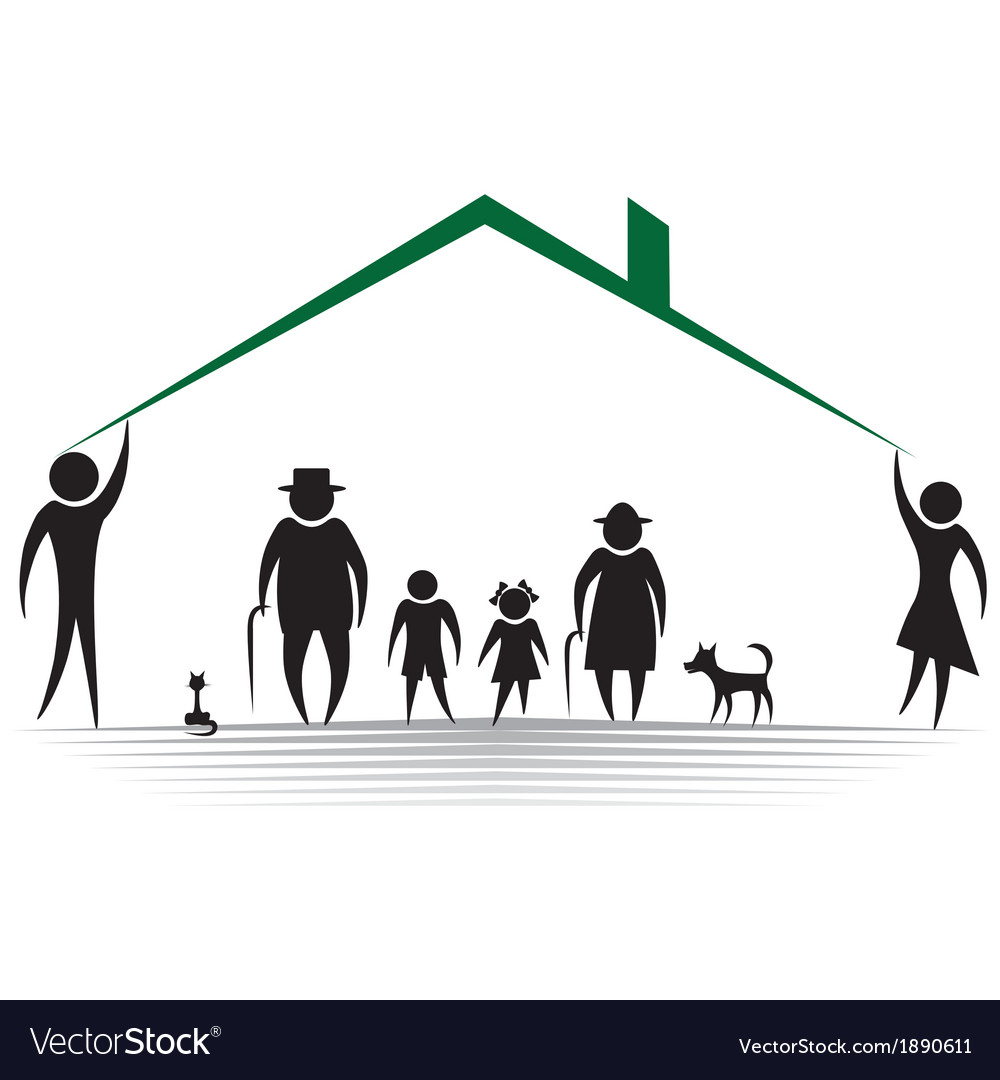 Family roof silhouettes of woman man children f vector | Price: 1 Credit (USD $1)