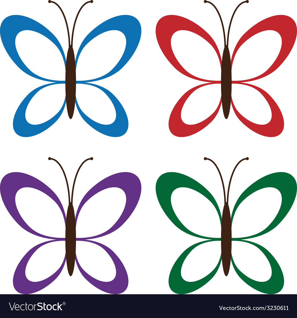 Four colored butterflies vector | Price: 1 Credit (USD $1)