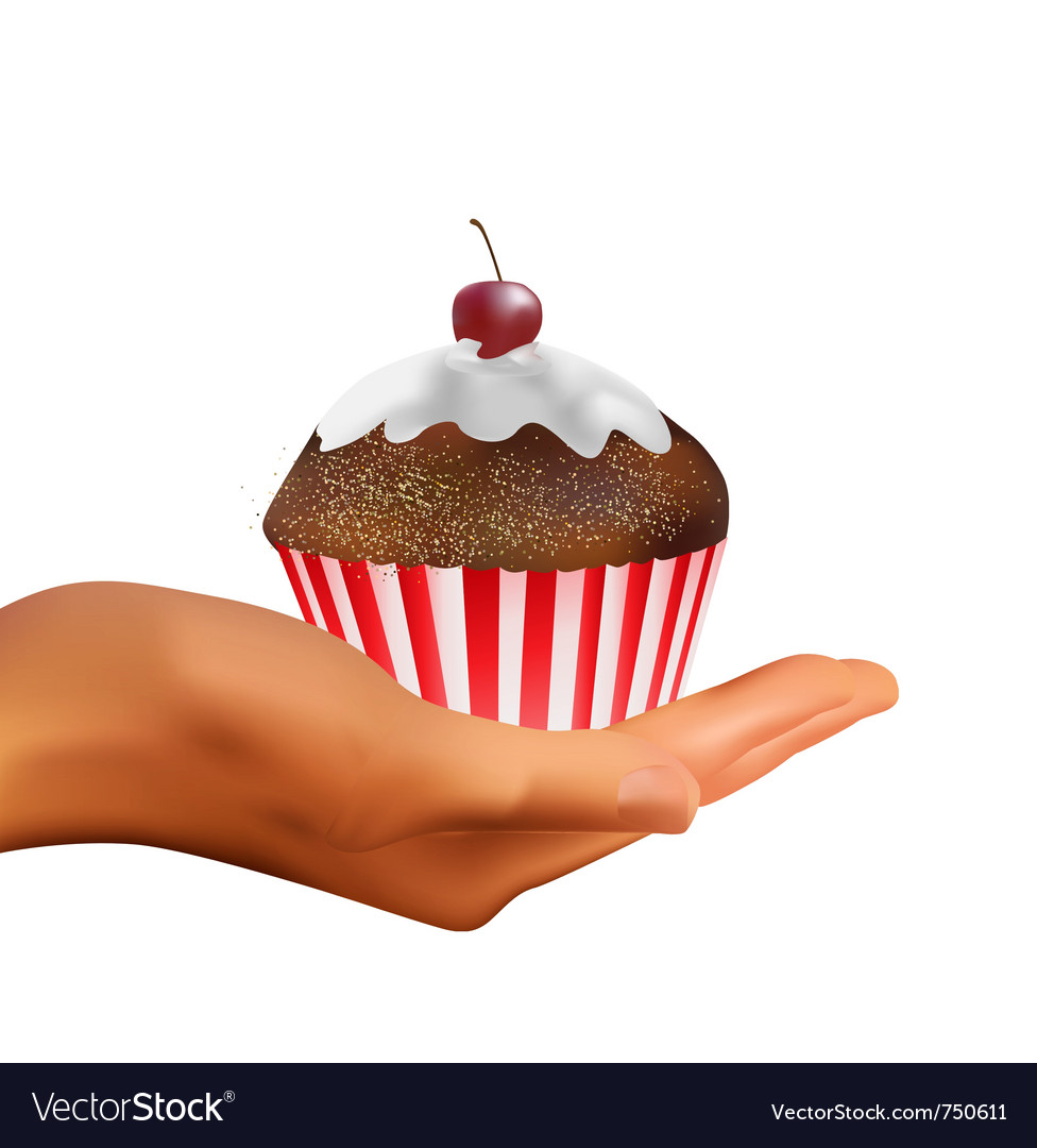 Hand holding muffin vector | Price: 1 Credit (USD $1)