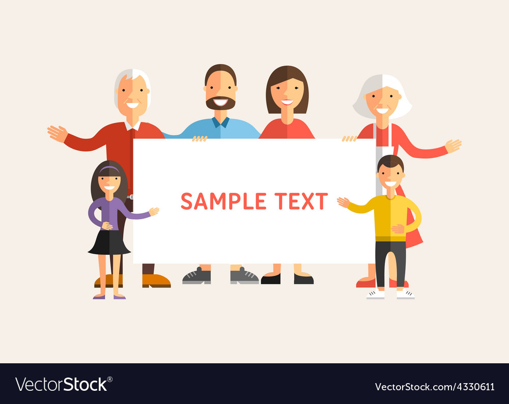 Happy family holding a banner flat design vector | Price: 1 Credit (USD $1)