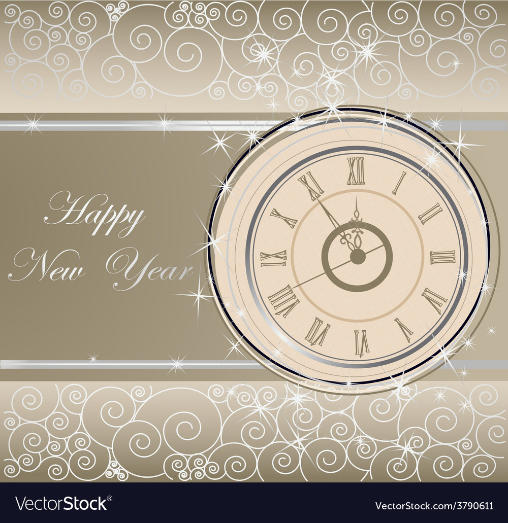 Happy new year background with clock vector   Price: 1 Credit (USD $1)