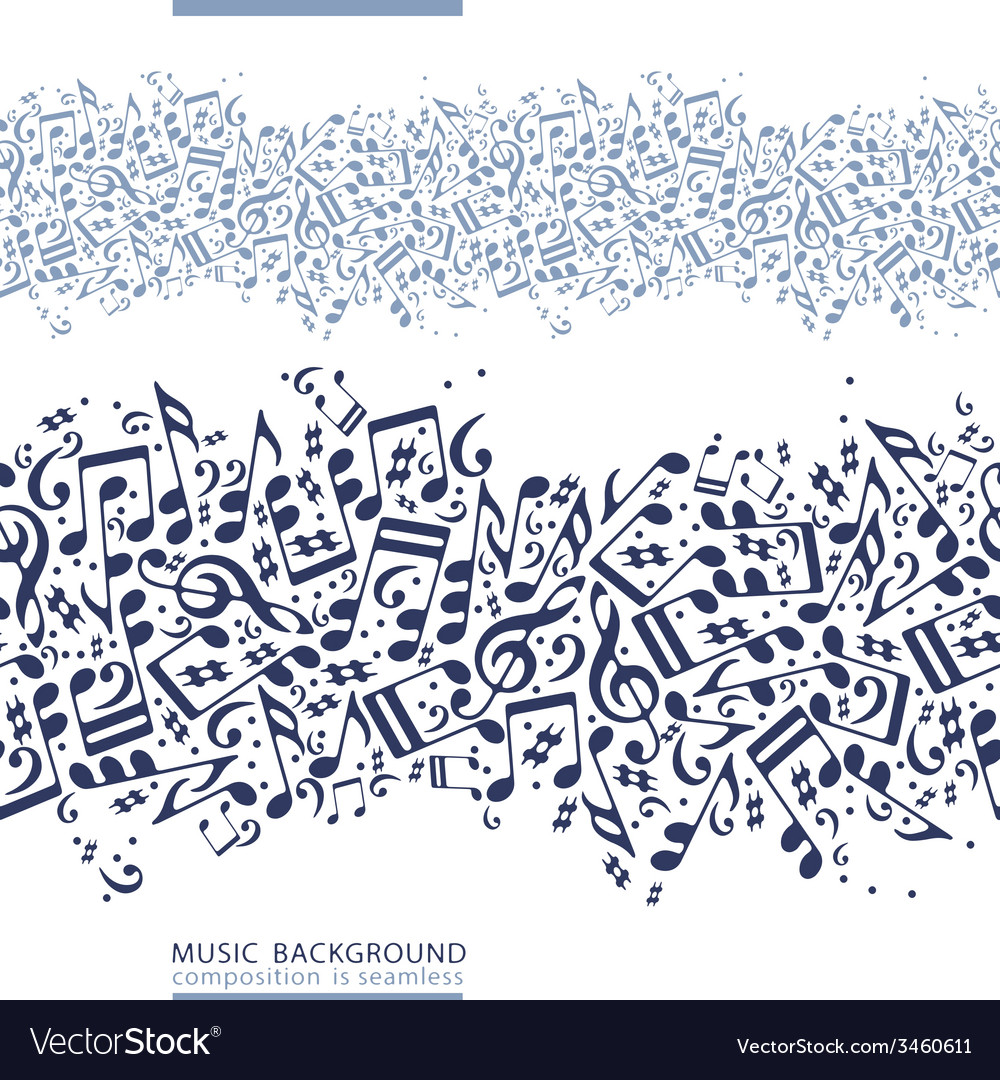Onecolored horizontal music canvas seamless tape vector