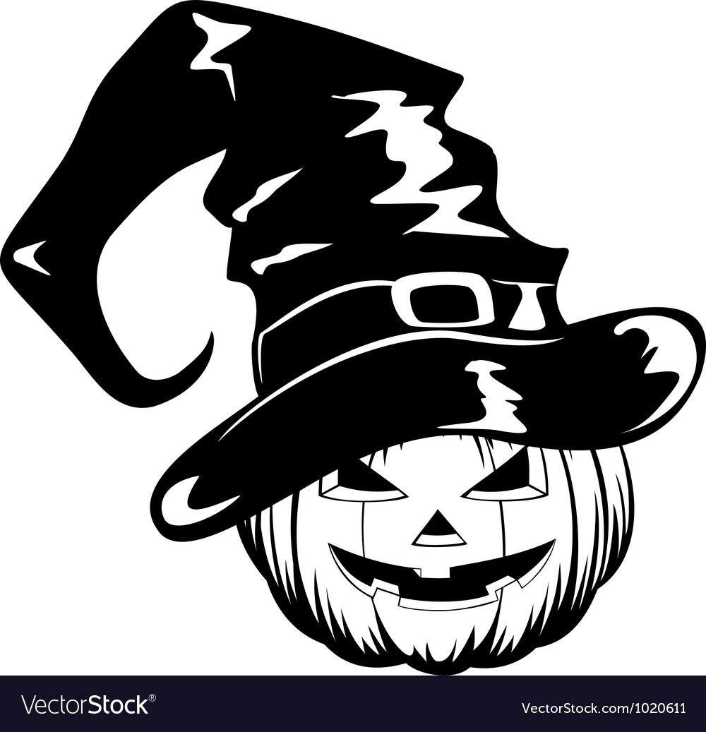 Pumpkin in halloween hat vector | Price: 1 Credit (USD $1)