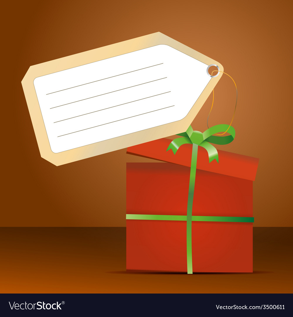 Red gift box with green ribbon and tag for vector   Price: 1 Credit (USD $1)