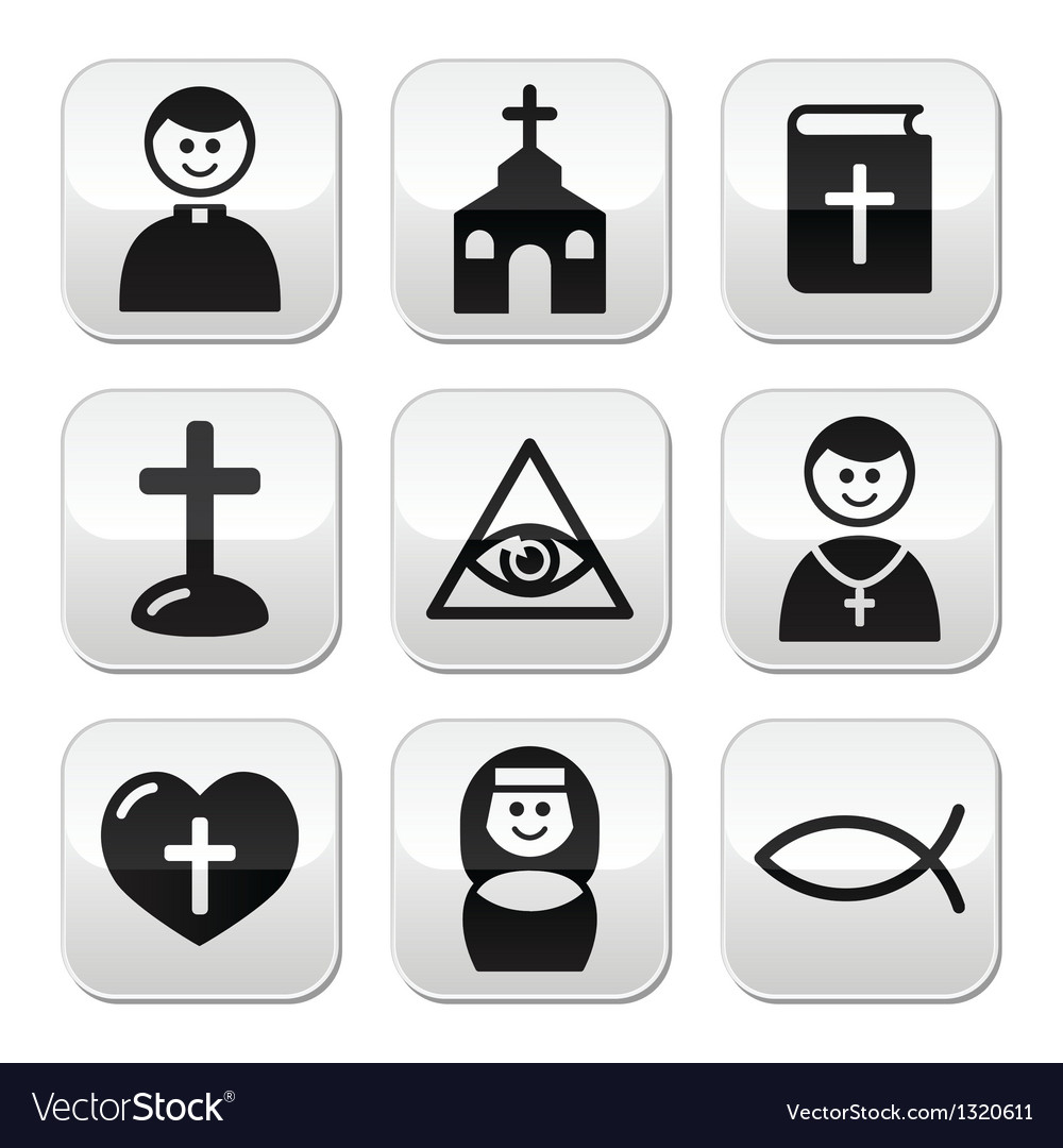 Religion catholic church buttons set vector | Price: 1 Credit (USD $1)