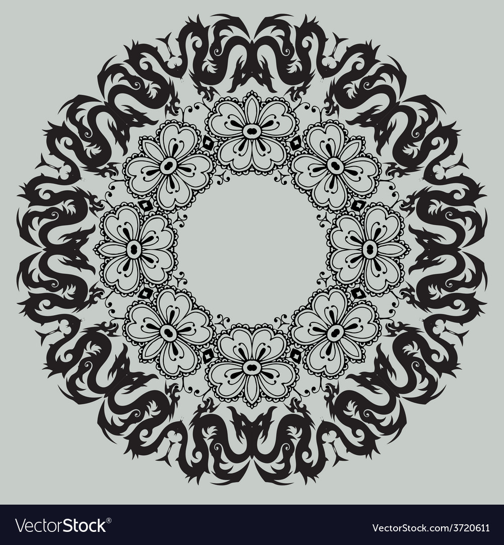 Round floral pattern on a gray background vector | Price: 1 Credit (USD $1)