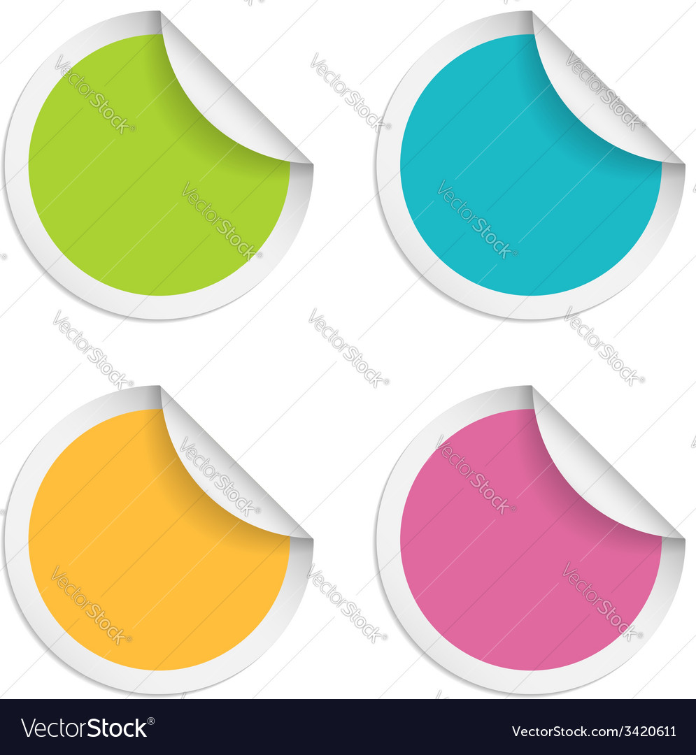 Round stickers with curled edge isolated on white vector | Price: 1 Credit (USD $1)