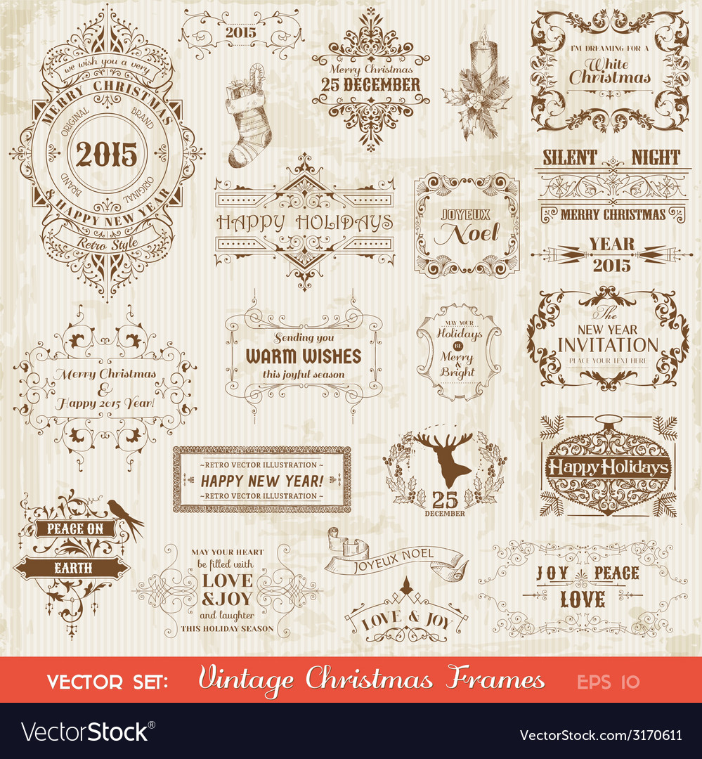 Set christmas calligraphic design elements vector | Price: 1 Credit (USD $1)