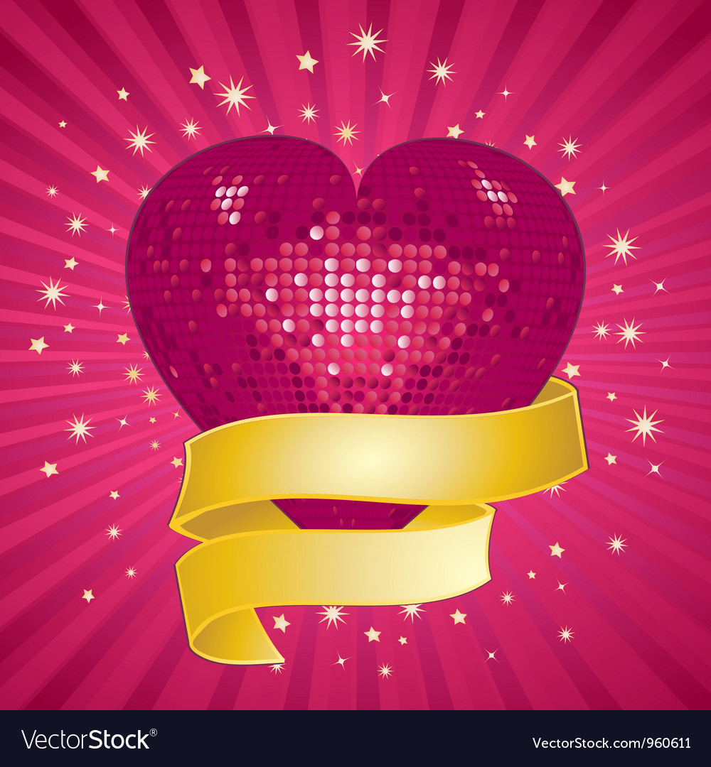 Sparkling pink valentine heart and banner vector | Price: 1 Credit (USD $1)