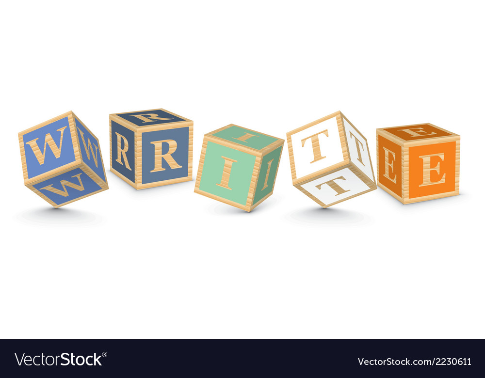 Word write written with alphabet blocks vector | Price: 1 Credit (USD $1)