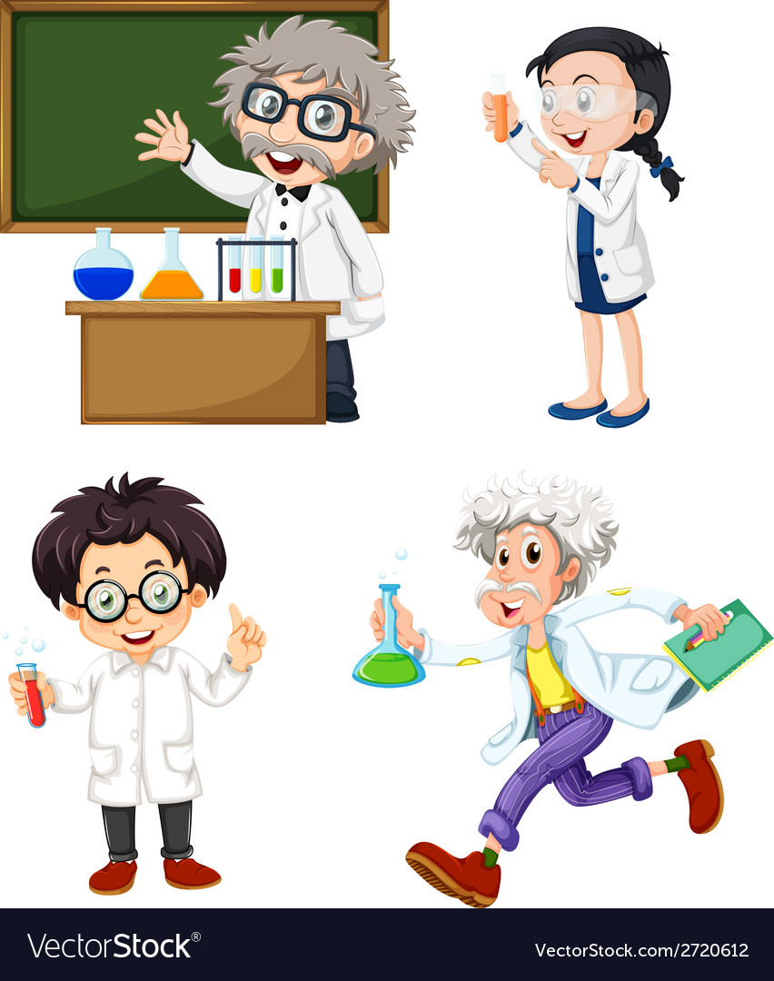Four chemists vector | Price: 1 Credit (USD $1)