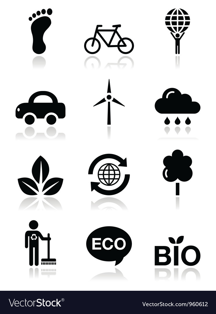 Green ecology black clean icons set vector | Price: 1 Credit (USD $1)