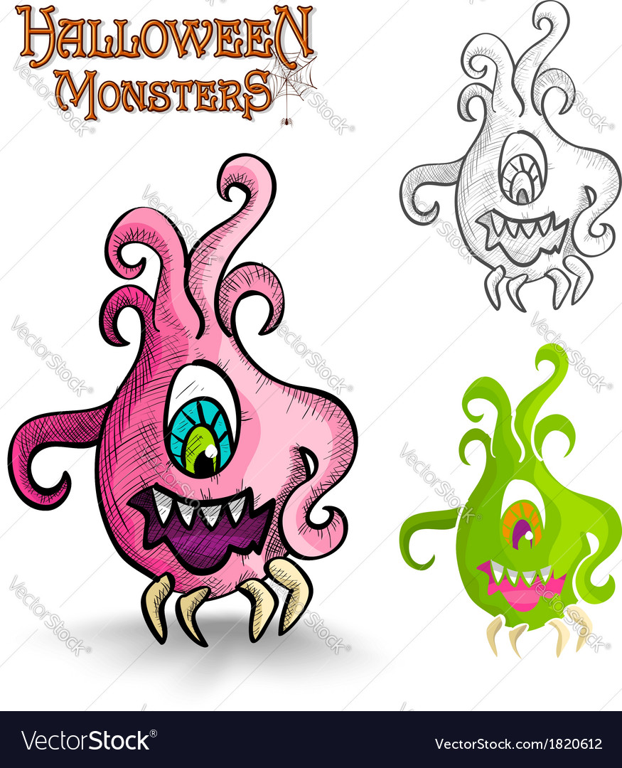 Halloween monsters scary cartoon ugly freak eps10 vector | Price: 1 Credit (USD $1)