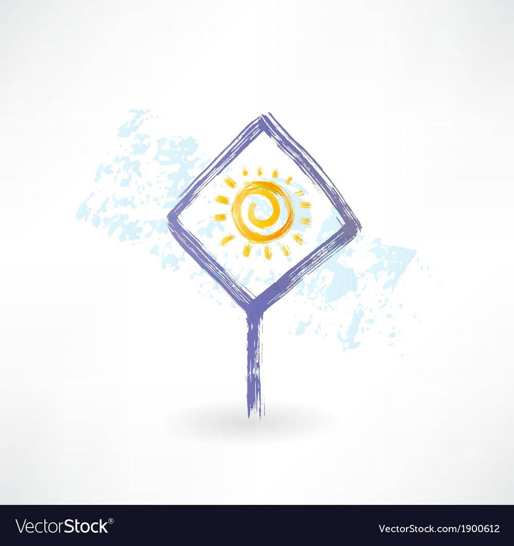Plate sun grunge icon vector | Price: 1 Credit (USD $1)