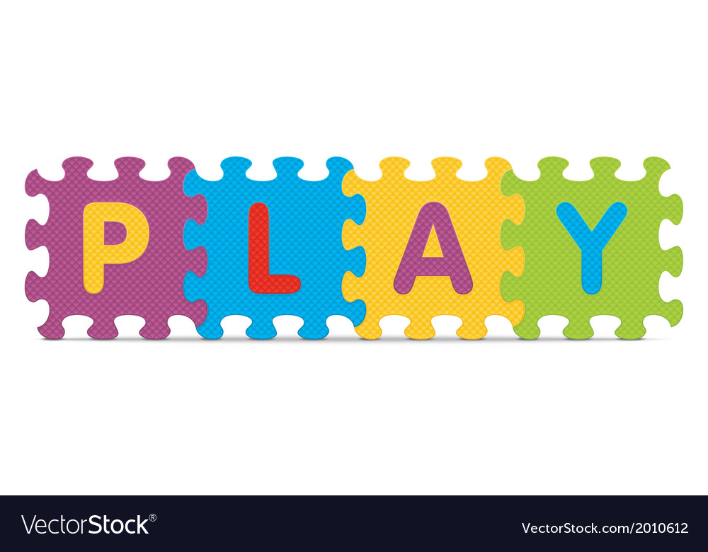 Play written with alphabet puzzle vector   Price: 1 Credit (USD $1)