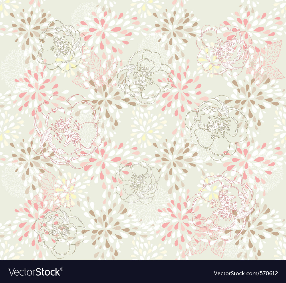 Seamless cute floral pattern vector | Price: 1 Credit (USD $1)