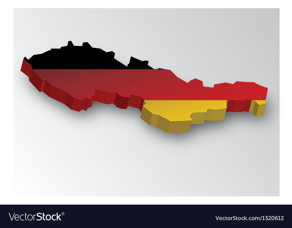 Three dimensional map of germany in flag colors vector | Price: 1 Credit (USD $1)