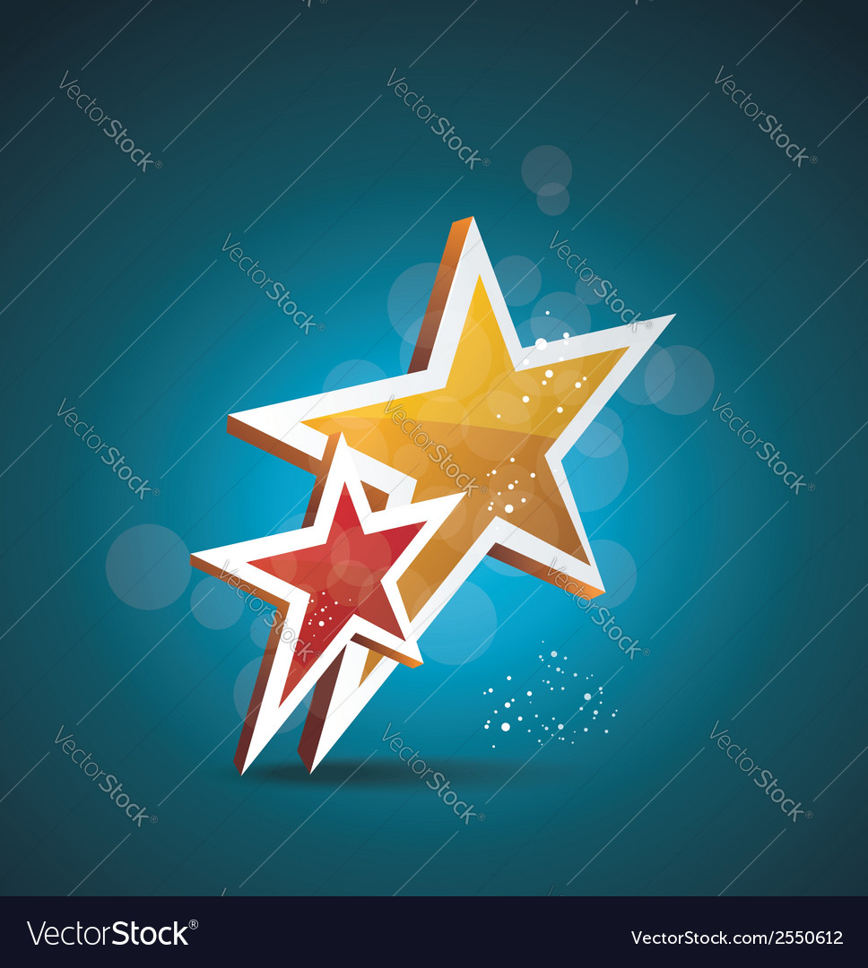 Two gold stars 100 satisfaction guarantee vector | Price: 1 Credit (USD $1)