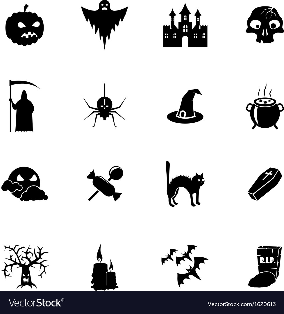 Black and white halloween icons set vector | Price: 1 Credit (USD $1)