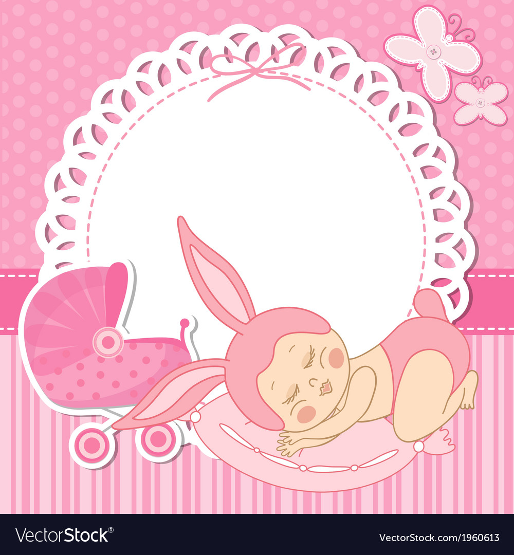 Card with the birth of a child girl in bunny vector | Price: 1 Credit (USD $1)