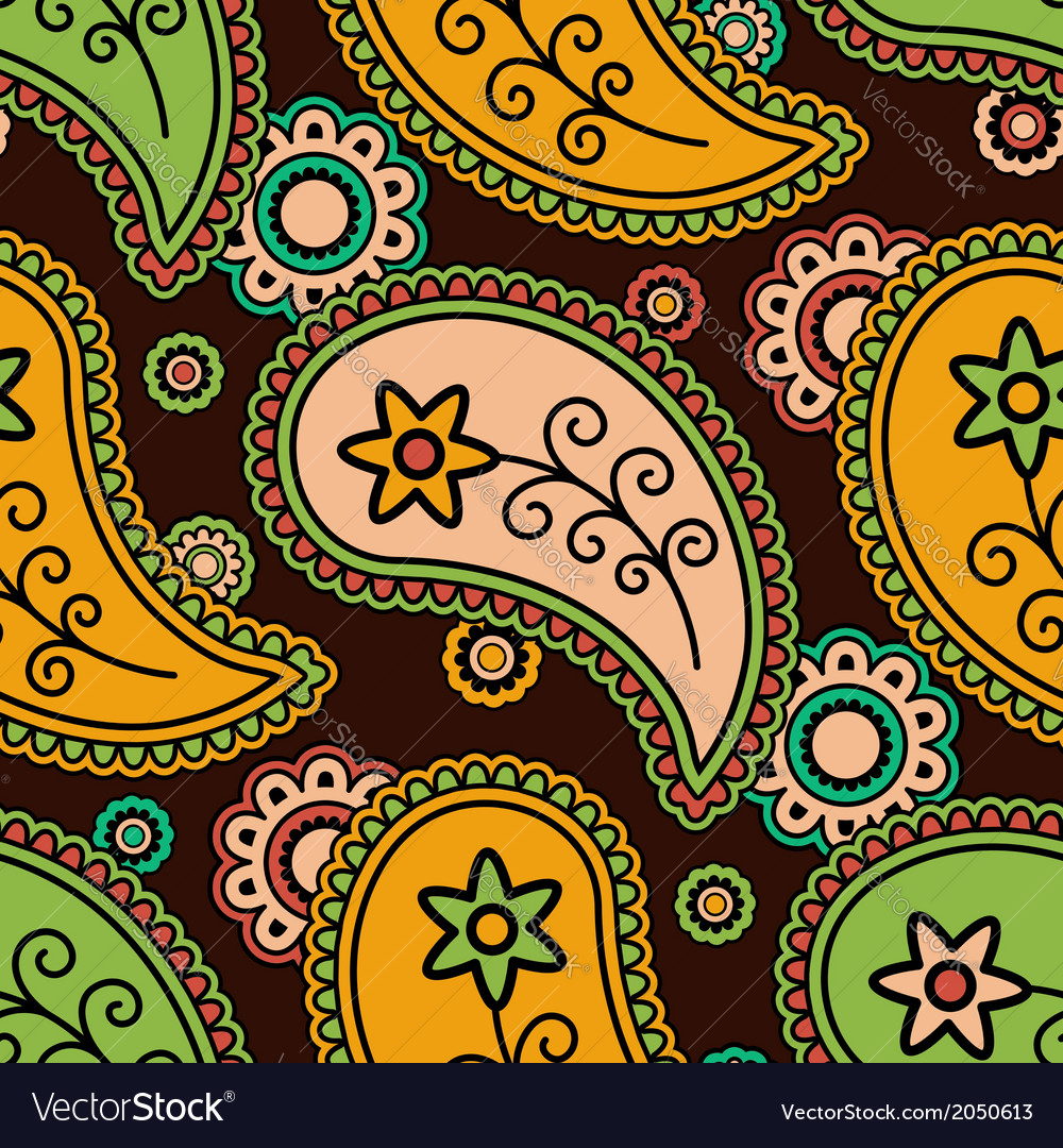 Colorful paisley pattern vector | Price: 1 Credit (USD $1)