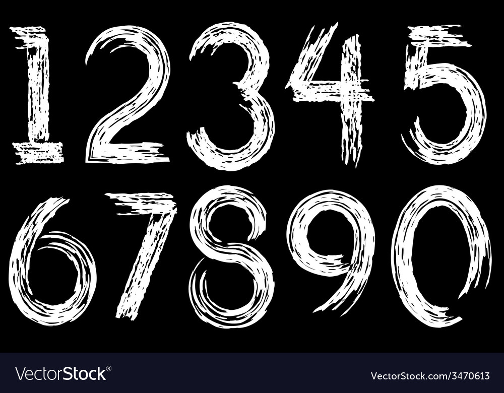 Digits drawn paint vector | Price: 1 Credit (USD $1)