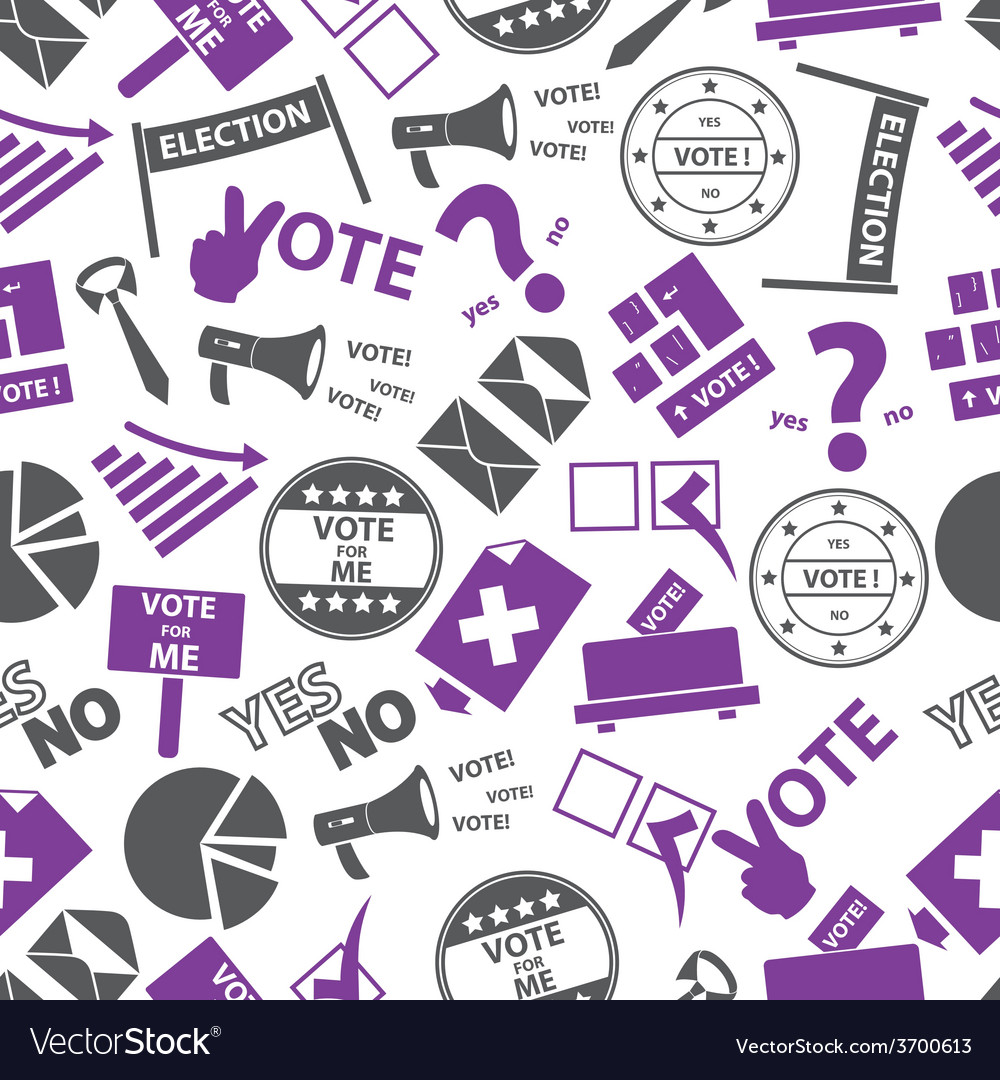 Election simple icons seamless color pattern eps10 vector | Price: 1 Credit (USD $1)