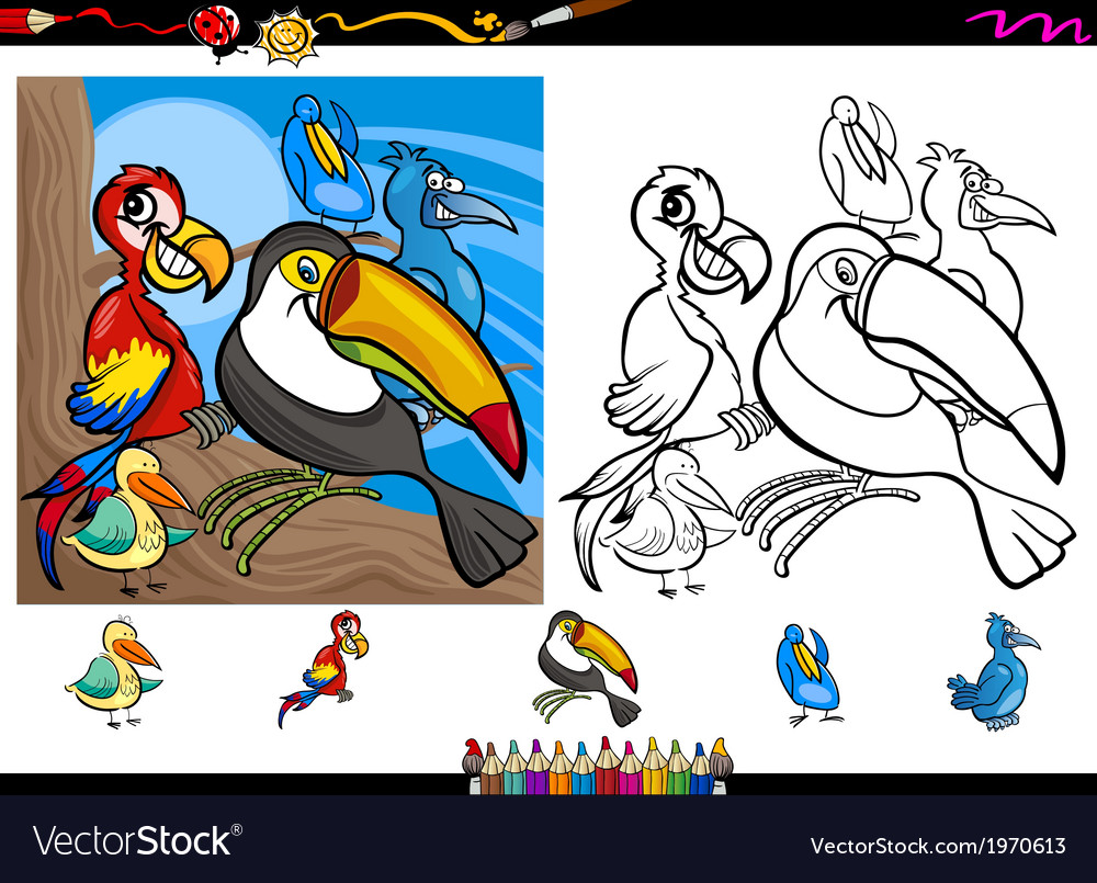 Exotic birds cartoon coloring page set vector | Price: 1 Credit (USD $1)
