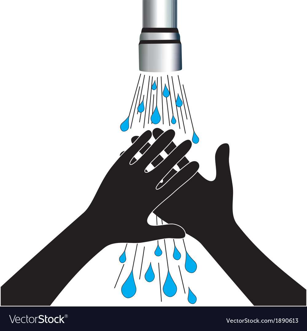 Hand washing under clean water tap vector | Price: 1 Credit (USD $1)