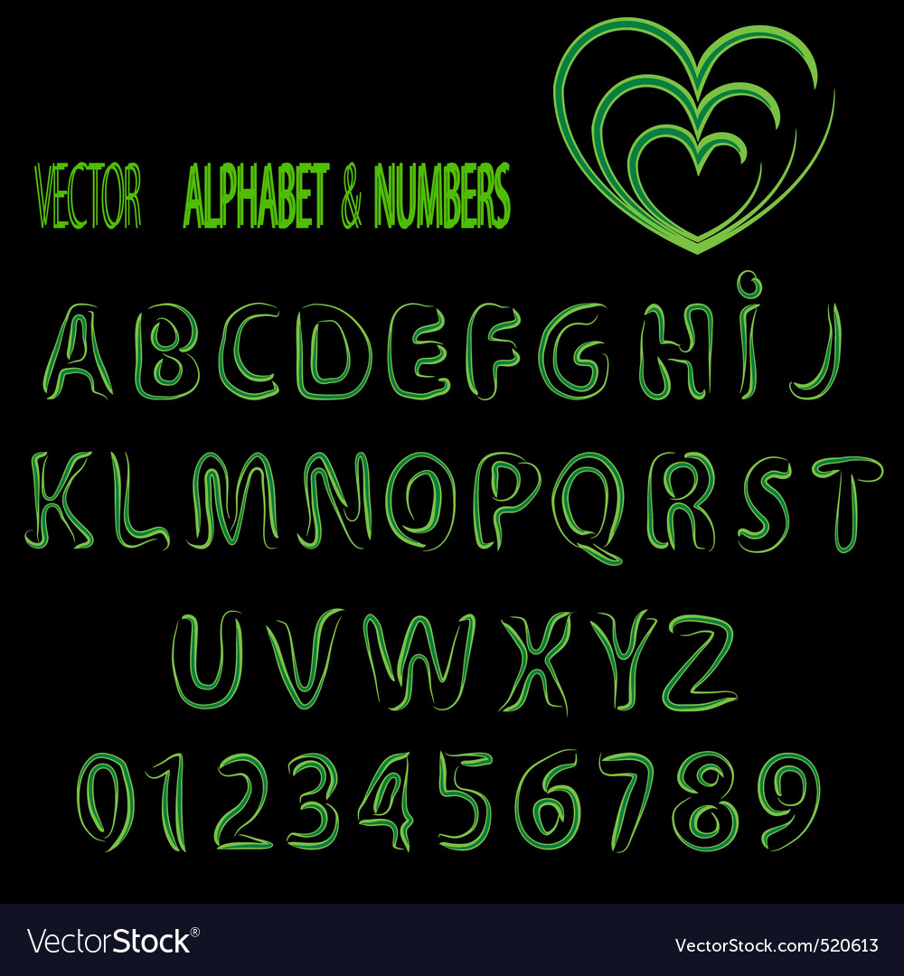 herbal alphabet and numbers vector | Price: 1 Credit (USD $1)