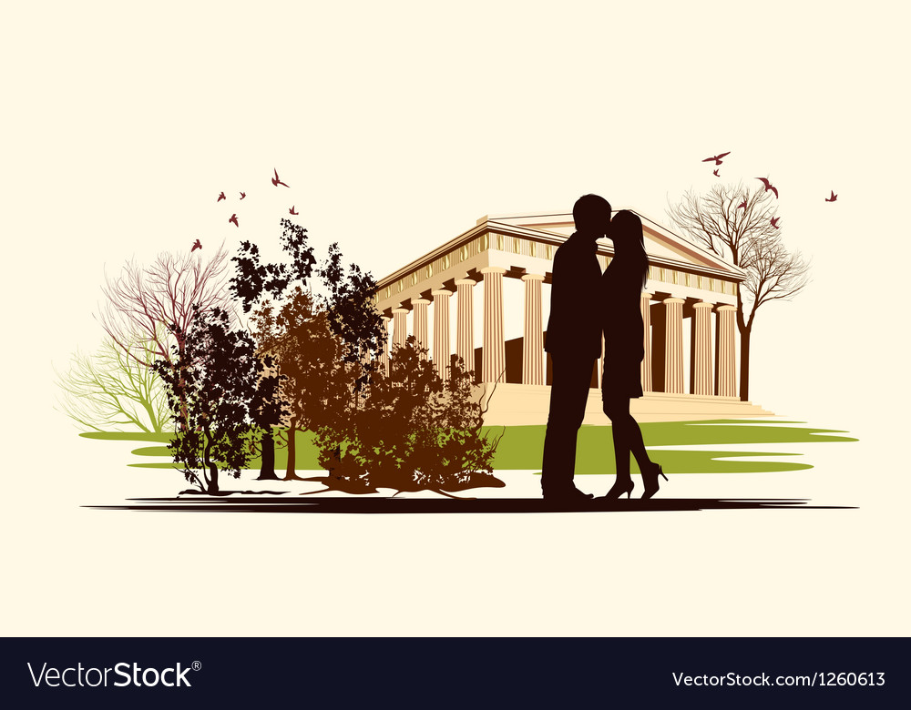 Kissing couple in historical square vector | Price: 1 Credit (USD $1)