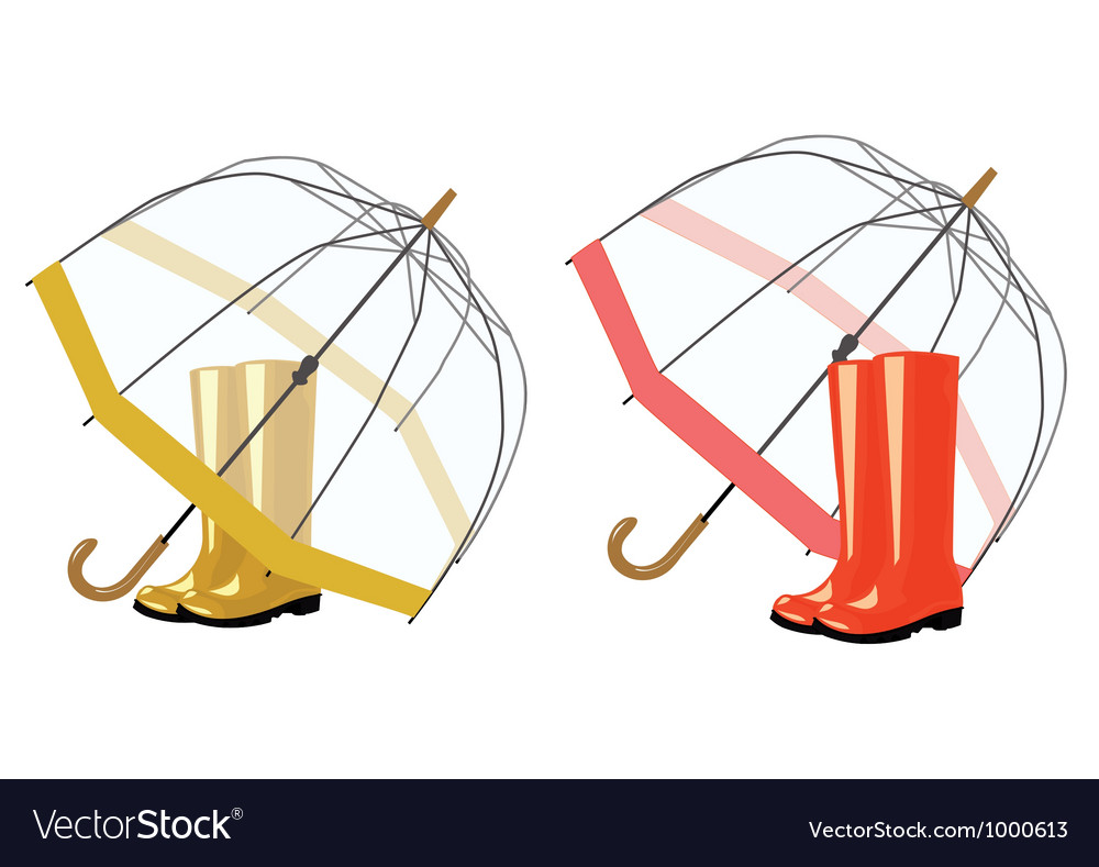 Open umbrella and rubber boots vector | Price: 1 Credit (USD $1)
