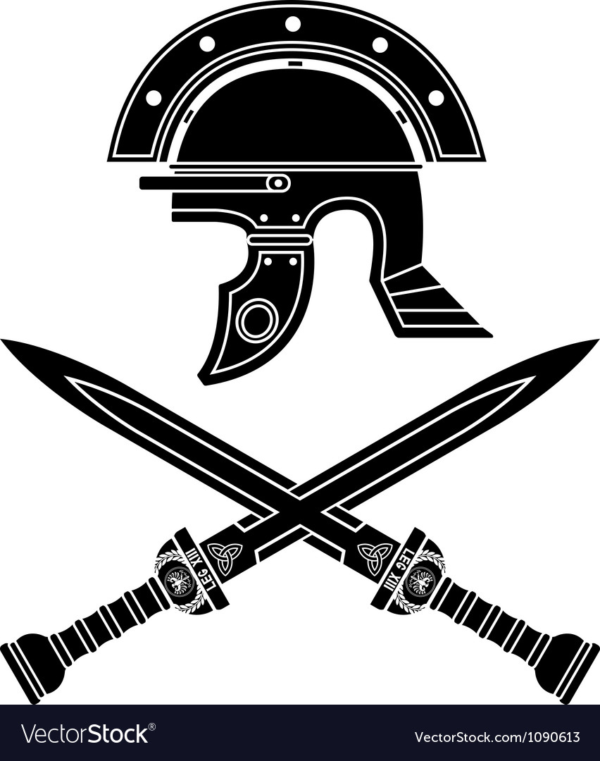 Roman helmet and swords fifth variant vector | Price: 1 Credit (USD $1)