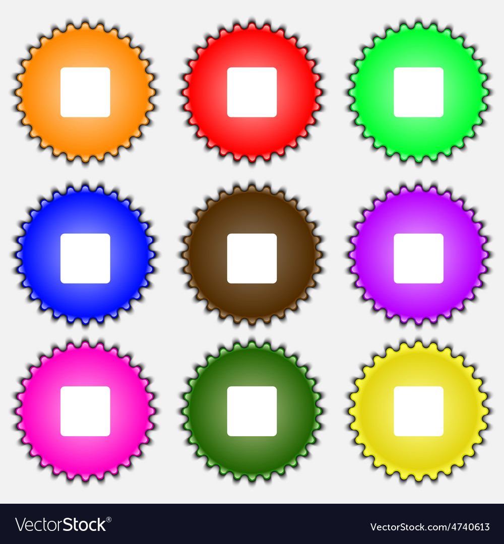 Stop button icon sign a set of nine different vector | Price: 1 Credit (USD $1)