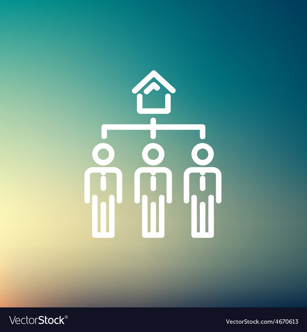 Three real estate agent in one house thin line vector | Price: 1 Credit (USD $1)
