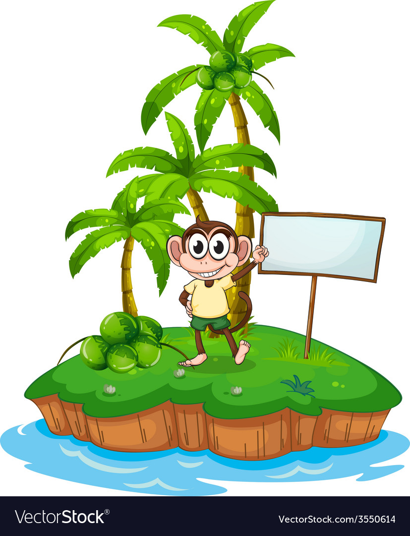 An island with a monkey and a signboard vector   Price: 3 Credit (USD $3)