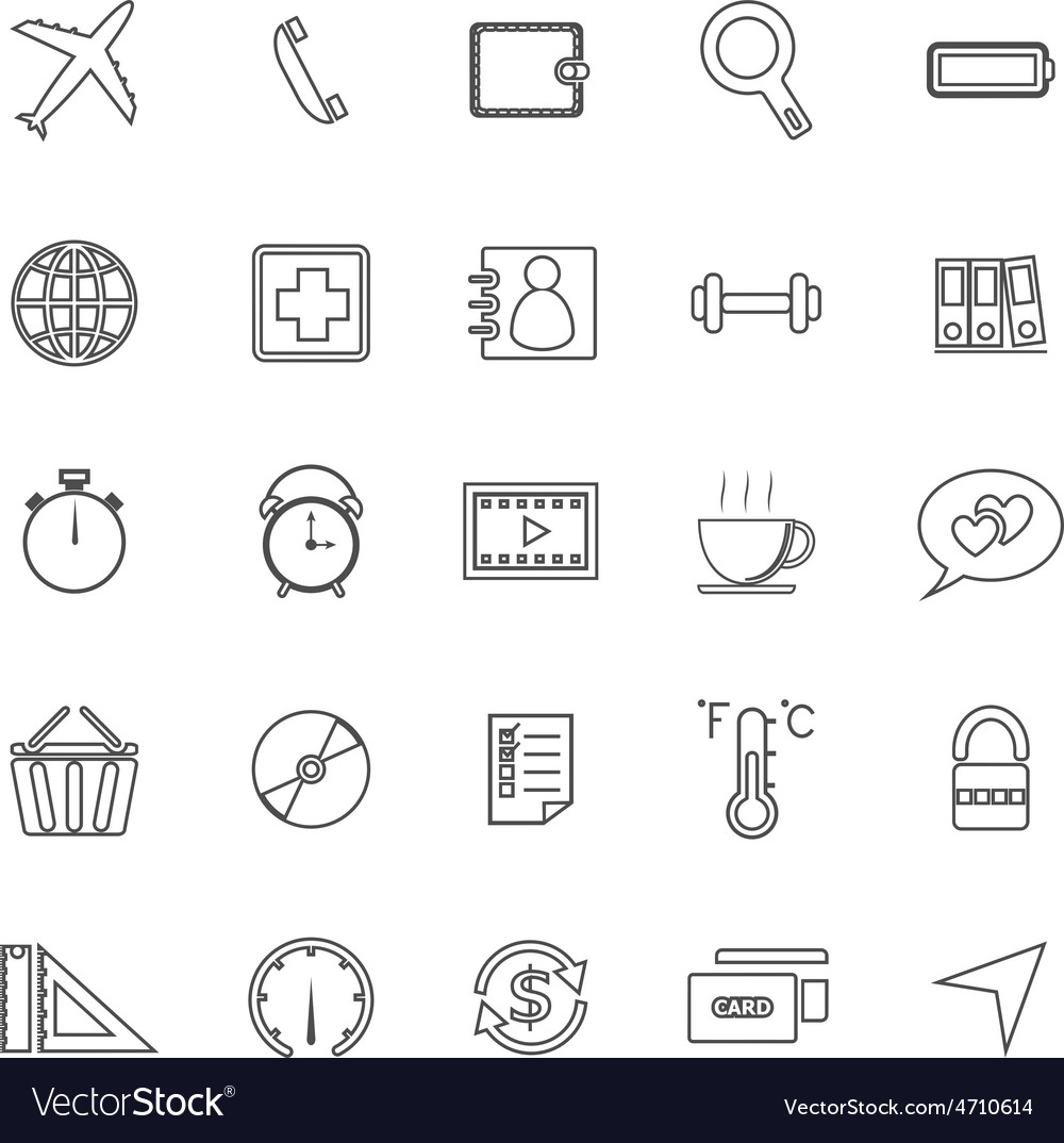 Application line icons on white background set 2 vector   Price: 1 Credit (USD $1)