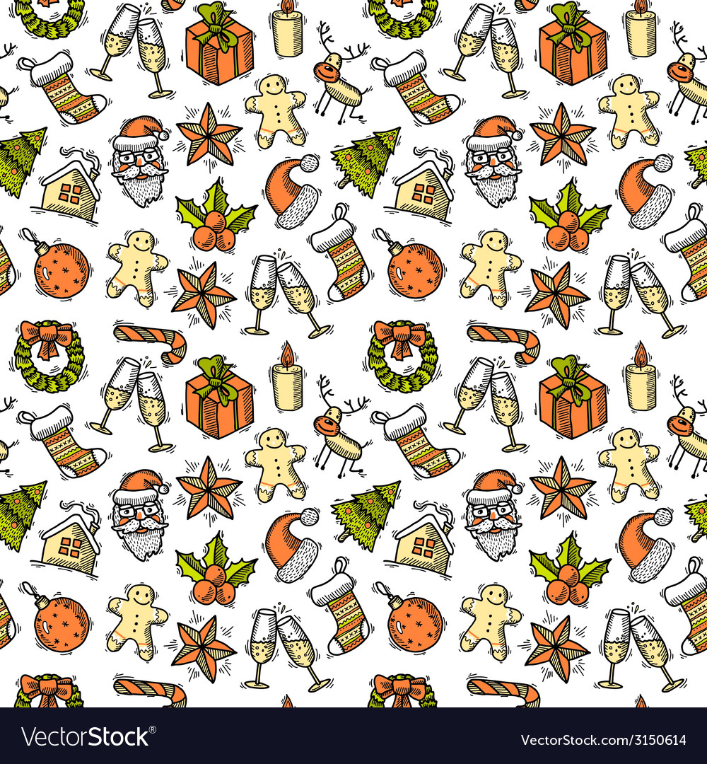 Christmas seamless pattern color vector | Price: 1 Credit (USD $1)