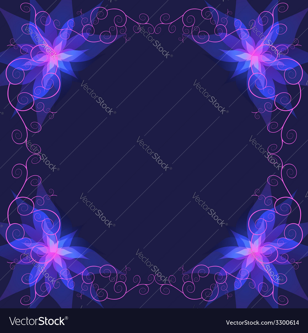 Decorative ornamental frame with blue flower vector | Price: 1 Credit (USD $1)