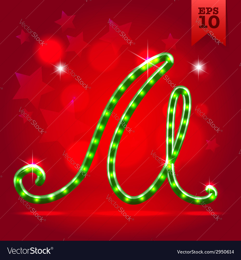 Electric green garland christmas new year abc vector | Price:  Credit (USD $)